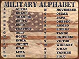 Military Alphabet, 9 x 12 Inch Metal Sign with the American Flag, Military Terms, Acronyms, Nato Phonetic Alphabet, Patriotic and Americana Decor and Gifts, Made in the USA, RK1020HP 9x12