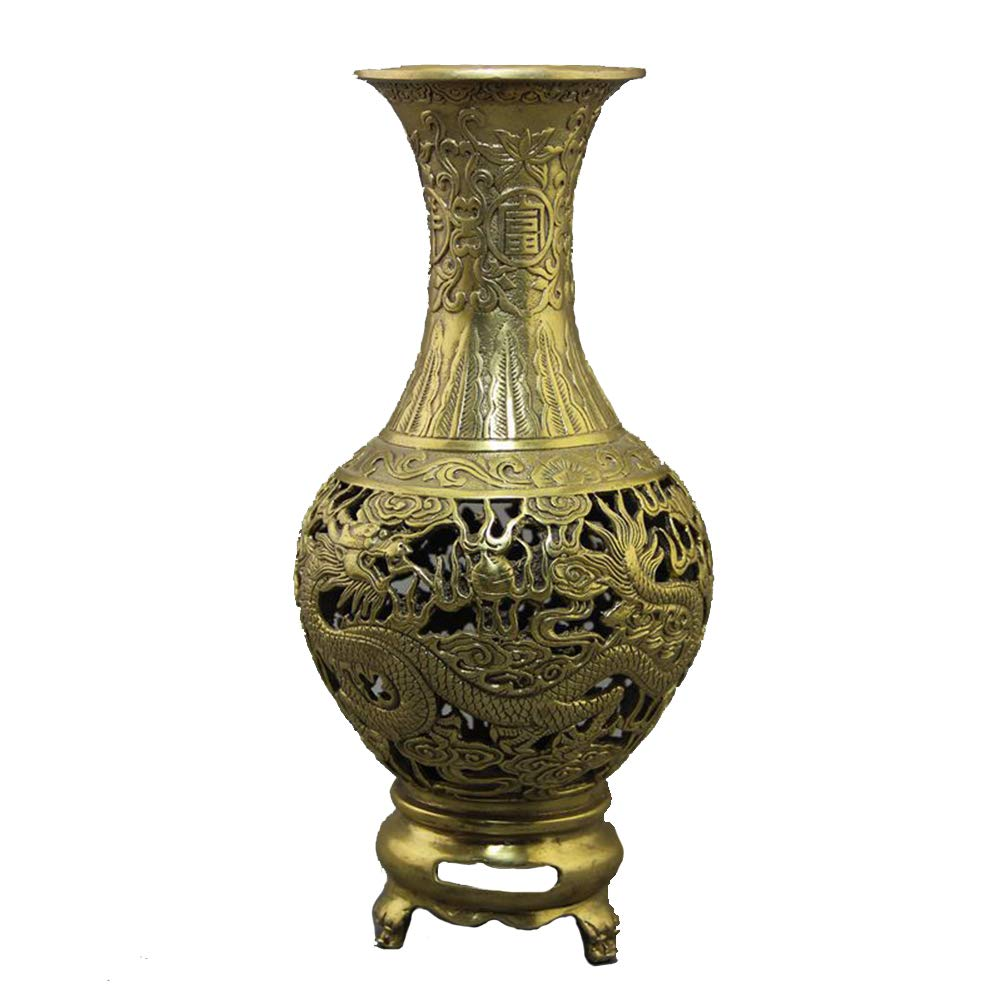 Eqerlian Collectibles Antique Copper Crafts Gifts Dragon And Phoenix Large Vases Home Decoration Ornaments Amazon Co Uk Sports Outdoors