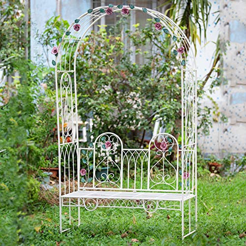 Rose Arch with Leaf Pattern, garden arbours with seats, 120cmx47cmx220cm, Support Archway for Climbing Plants (White)