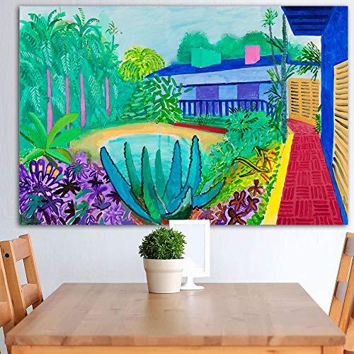 Leinwanddruck Poster David Hockney Claude Auf Stein Landschaft Kunst Pool Porträt Wandbild Für Wohnzimmer Wohnkultur 60 * 90 cm