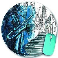 KAPANOU ラウンドマウスパッド カスタムマウスパッド、サックス奏者が夜の街でサックスを演奏するミュージシャンを手描き、PC ノートパソコン オフィス用 円形 デスクマット 、ズされたゲーミングマウスパッド 滑り止め 耐久性が 200mmx200mm