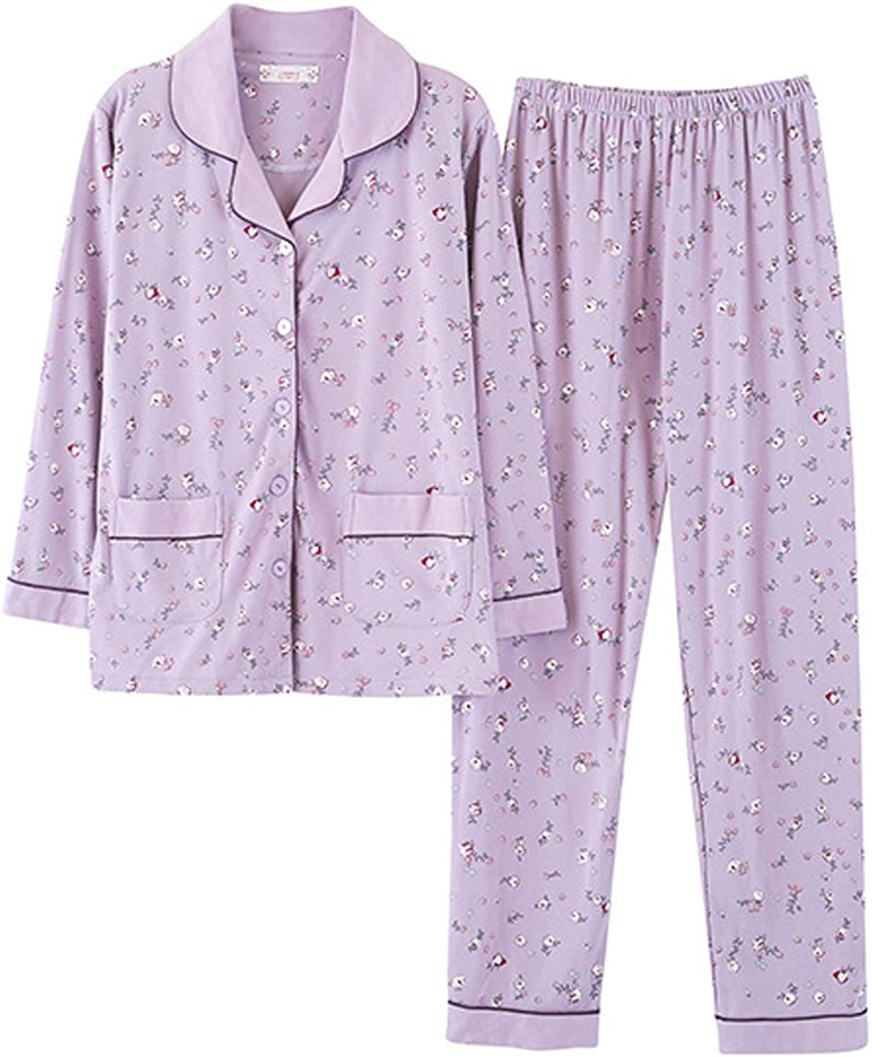 VENTELAN Women's Notch Collar Sleepwear Long Sleeve Pajamas Cotton Pajama Set