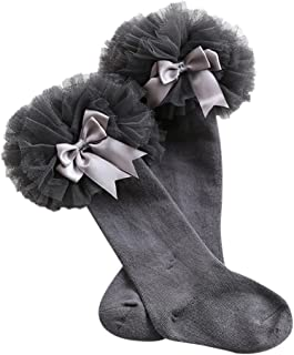 Weixinbuy Kid Baby Girl's Cotton Lace Bowknot Knee Socks Baby Dress Stockings 0-4 Years
