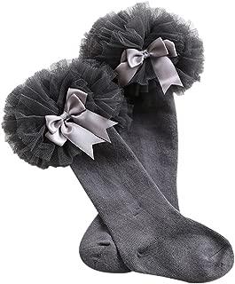 Weixinbuy Kid Baby Girl's Cotton Lace Bowknot Knee Socks Baby Dress Stockings 0-4 Years