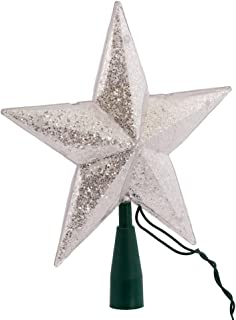 Kurt Adler UL 10-Light 5-Point Glitter Star Christmas Treetop, Silver