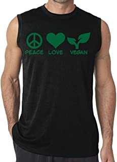Peace Love Vegan Men's Sleeveless Tank Top T-Shirt Casual Gym Vest tee