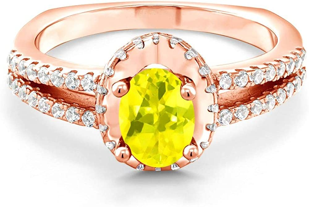 Gem Stone King New Max 63% OFF arrival 18K Rose Gold Plated Can Oval Ring Silver 1.30 Ct