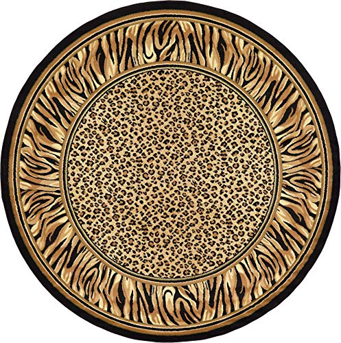Unique Loom Wildlife Collection Cheetah Border Animal Print Light Brown Round Rug (8' 0 x 8' 0)