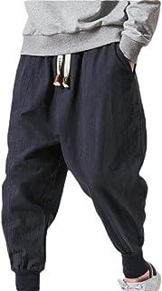 omniscient Men's Casual Jogger Pants Wide Leg Elastic Waist Cotton Linen Sweatpant