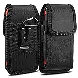 iNNEXT Funda para iPhone 7 Plus con clip para cinturón, para Samsung Note 8 Galaxy S8 Plus/Note 5/S6 Edge Plus (5,5 pulgadas), resistente tela Oxford con clip para cinturón de acero, color negro