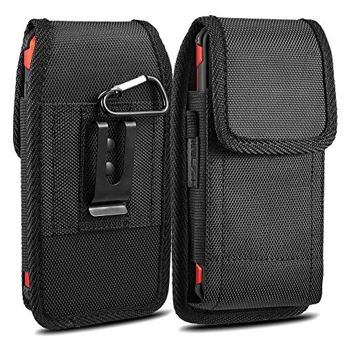 iPhone 7 8 Plus Belt Clip Case,iNNEXT PLUS SIZE PouchCase Holster for Note8 Galaxy S8 plus/iPhone XS Max/iPhone XR Oxford Canvas Vertical/Horizontal Case w/ Steel Belt Clip Holster,Black