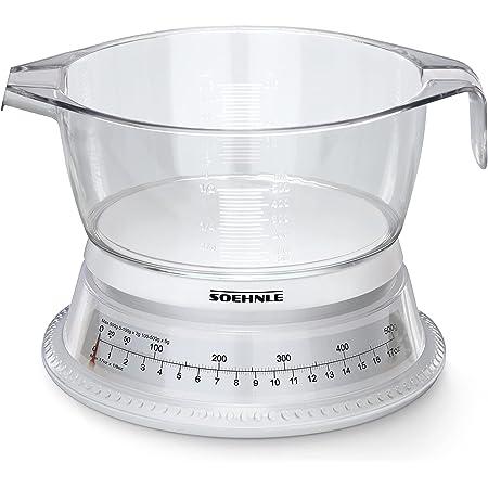 Soehnle Balance de cuisine Vario, Balance cuisine mécanique avec bol gradué d'une contenance de 500 ml, Petite balance alimentaire en plastique