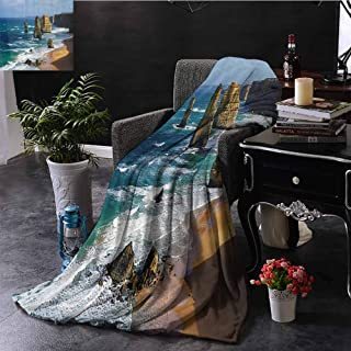 Seaside Decor Collection Comfortable Large Blanket Australia Rock Face Lookout by The Sea Sightseeing Panoramic Picture Microfiber Blanket Bed Sofa or Travel W60 x L50 Inch White Blue Teal