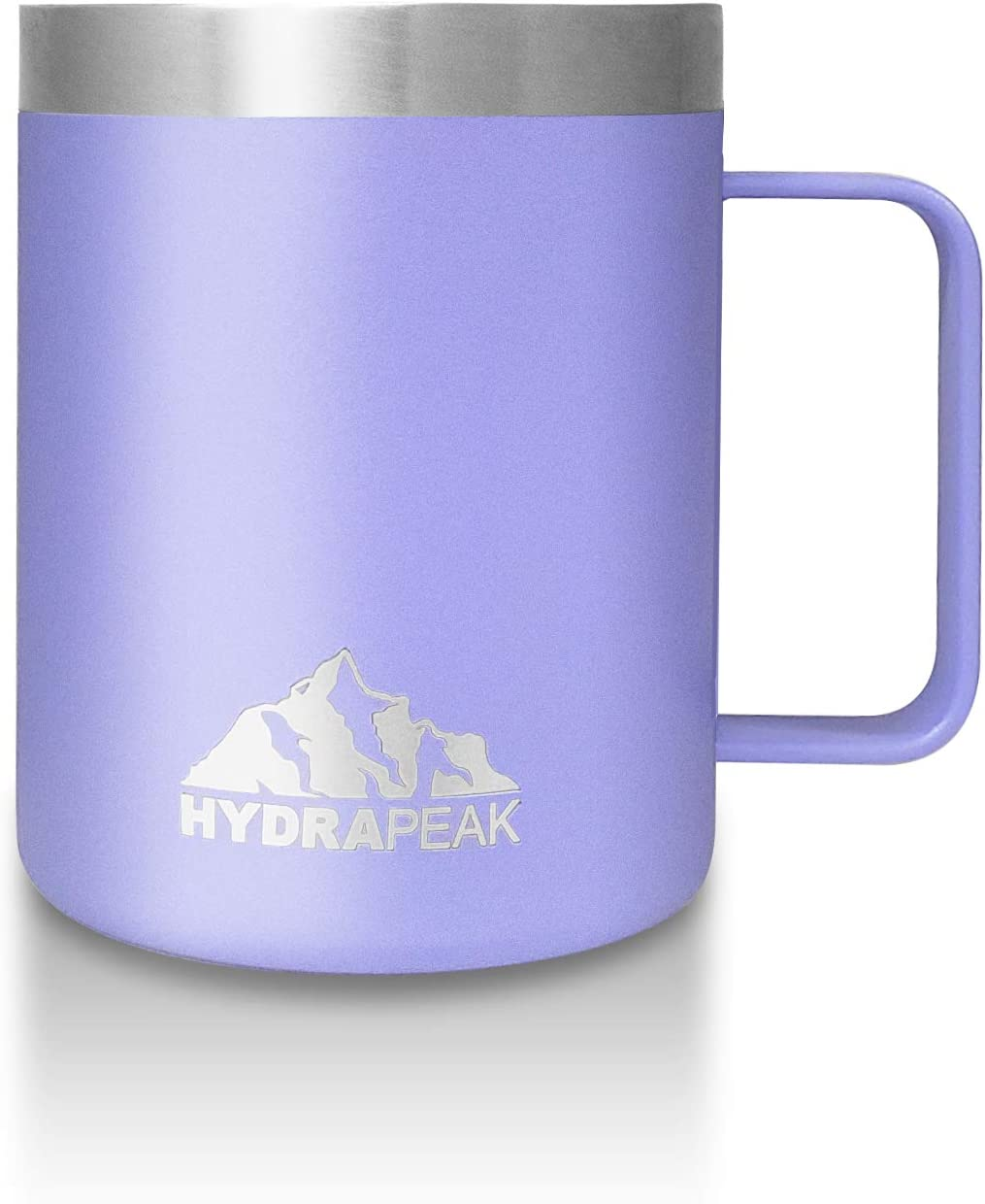 12oz, Aqua Hydrapeak 12 oz Stainless Steel Double Vacuum-Insulated Coffee Mug Reusable Travel Cup with Integrated Handle and Press in Lid
