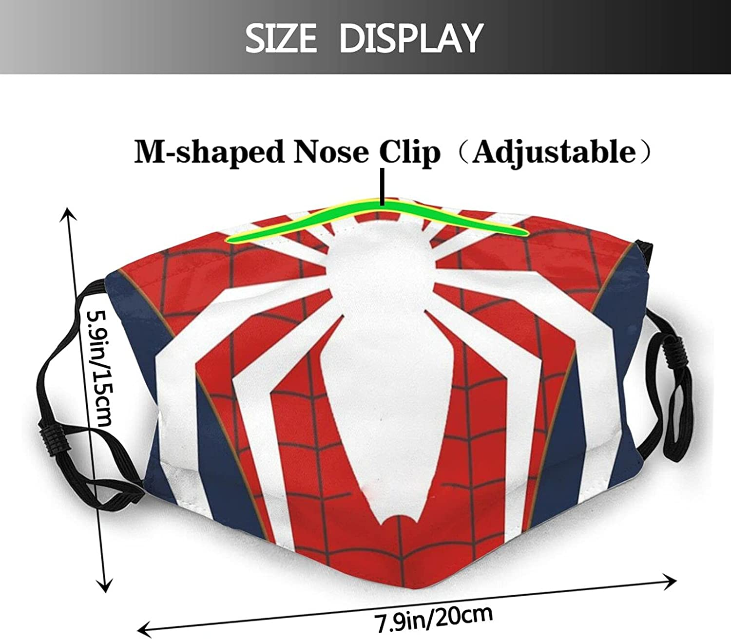 Cool Spider Web Face Mask Unisex Fashion Dustproof Breathable Balaclava Scarf with Filter Adjustable Reusable
