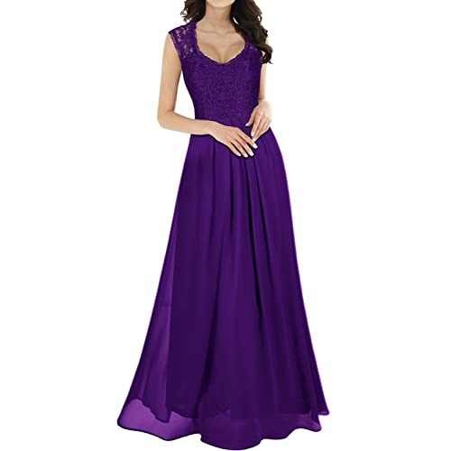 f7a1ff1956ad MIUSOL Women s V Neck Lace Ball Gown Long Chiffon Evening Dress