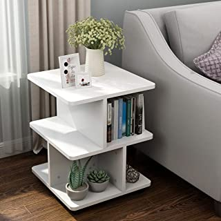 Tribesigns Modern Side End Table for Living Room, 3 Tier Bedside Table Night Stand with Wheels and Storage Shelf for Bed Room (White)