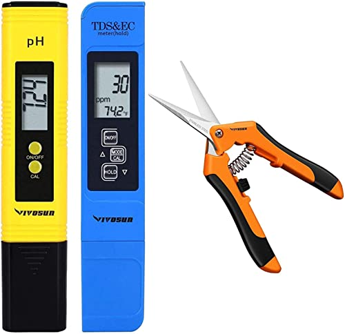 lowest VIVOSUN pH and TDS Meter Combo and 6.5 Inch Gardening high quality Hand Pruner outlet sale Pruning Shear with Straight Stainless Steel Blades Orange outlet online sale