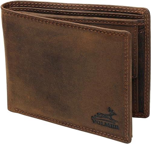 Fa.Volmer® Portefeuille en Cuir pour Homme Marron/Noir avec Protection RFID Portefeuille en Cuir véritable Porte-Monn...