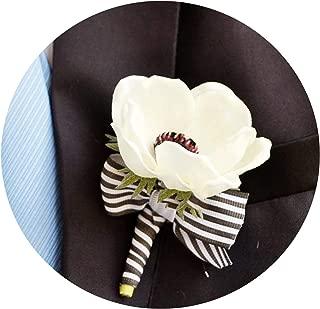 Handmade Wedding Supplies Corsage Groom Boutonniere Bride Bridesmaid Wrist Flower PU White Anemone Artificial Flowers Corsages,Boutonniere