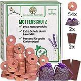 Holzmann-Products 54x Zedernholz Mottenschutz gegen Kleidermotten, 100% Bio Zedernholzringe, 2X Lavendelsäckchen, Chemiefreie Mottenabwehr im Kleiderschrank, Mottenschutz für Kleiderschrank