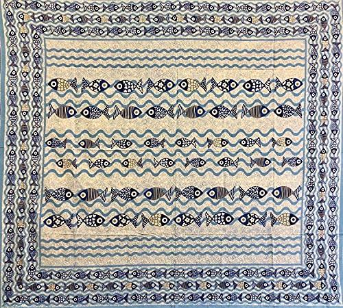 Copritutto Grande Fish Sabbiato Copriletto 210x240 cm Copri divano Etnico 100% Cotone Senza Frange Telo Mare Antisabbia (Azzurro)