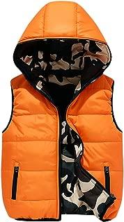 Boys' Lightweight Hooded Puffer Down Vest Jacket Waistcoat Double Side Wear
