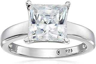 Platinum or Gold Plated Sterling Silver Princess-Cut...