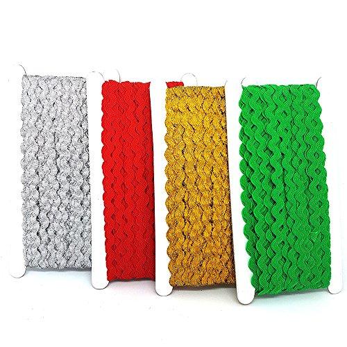 Zackenlitze, 4x 22m, 5 mm breit, Gold, Silber, Rot, Grün, für Weihnachtsdekoration, von Accessories Attic