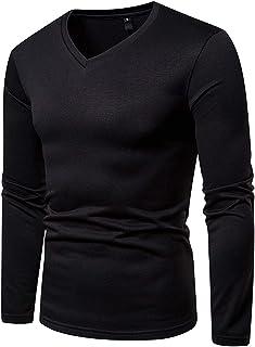 f5b28e97a6fbf JOLIME T-Shirt Homme Manches Longues Col en V Doublure Polaire Thermique  Haut Basiques Chaud
