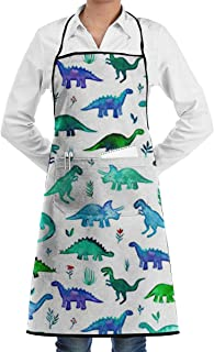 Sjiwqoj8 Dinosaurs Fabric Tiny Dinos in Blue and Green Kitchen Apron - Mens and Womens Professional Chef Bib Apron Home Kitchen Cooking Baking Gardening Apron