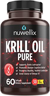 Nuwellix Krill Oil Supplement with Omega 3 EPA, DHA and Antaxanthin - Promotes Joint Lubrication and Youthful Looking Skin...