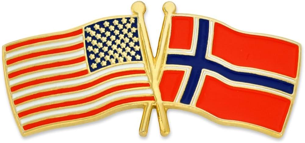 PinMart USA and Norway Crossed Pin Portland Mall Lapel Enamel Friendship Award-winning store Flag