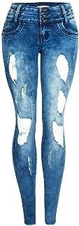 Jeans de Mujer Pantalones Vaqueros Rasgados Mujeres Primavera y el Verano Pantalones Bordado de la Flor Frontal Multi-botó...