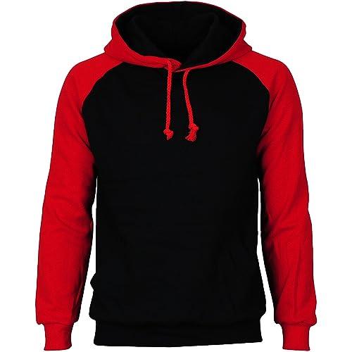 AWDis Mens Raglan Contrast Baseball Hooded Sweatshirt Casual Pullover Hoodie TOP