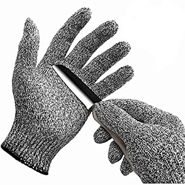 WISLIFE Cut Resistant Gloves Level 5 Protection Food Grade EN388 Certified Safty Gloves for Hand Protection, Kitchen Glove for Cutting and Slicing,Designed for Children and Ladies 1 Pair, Small, Grey
