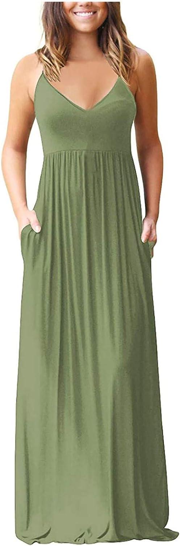 Aniwood Summer Dresses for Women Sleeveless Plain Printing Cami Sling Loose Maxi Dresses Boho Dress Party Beach Sundress