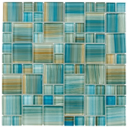 MTO0091 Modern Modular Blue Brown Aquamarine Blend Glossy Glass Mosaic Tile