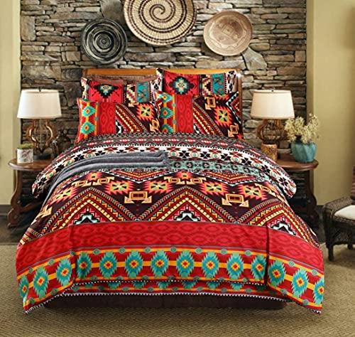 DecorBohemian Juego de ropa de cama, étnico estilo exótico mandala bohemio, indio colorido geométrico juego de funda de edredón 4 piezas (funda de edredón+fundas de almohada+sábana)