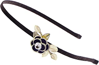 Alilang Womens Dark Brown Floral Flower Rose Golden Leaves Headband Piece
