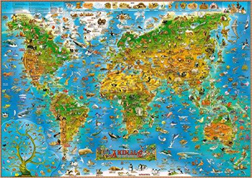 FPRW Houten puzzel, 1000 stukjes Cartoon Animal World Map Puzzle, Ontdek creativiteit en probleemoplossend speelgoedspel