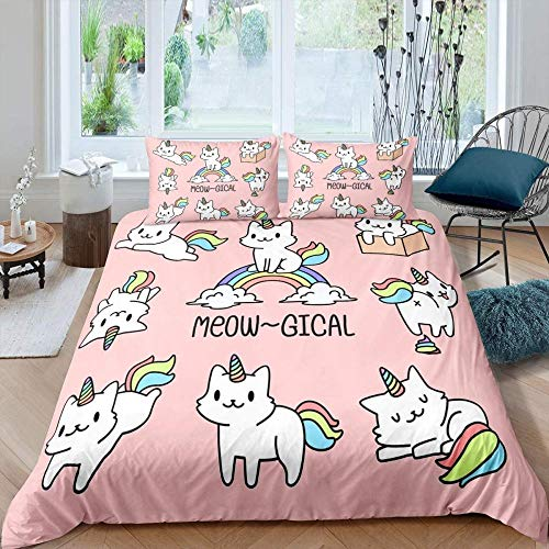 Ahooseso Animal Rainbow Cute Unicorn Duvet Cover Set For Single Double Super King Size Bed 3D Printed Microfiber Bedding Sets Duvet Set With Pillowcases And Quilt Case 240 X 220 Cm