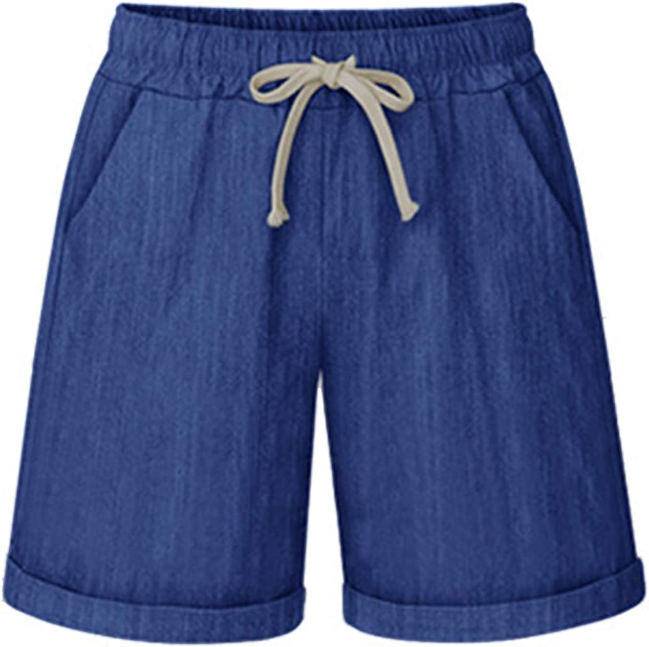 Vcansion Women's Casual Cotton Elastic Waist Above Knee Loose Comfy Beach Shorts with Drawstring