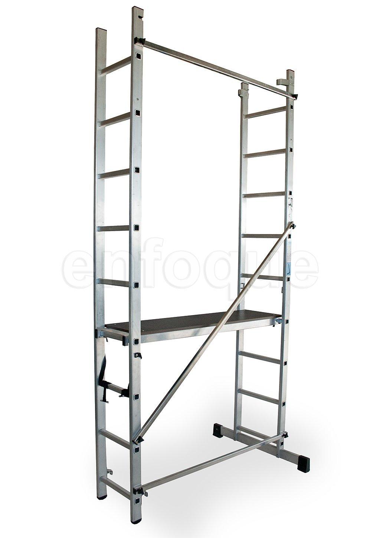 ALTIPESA Escalera - andamio Profesional de Aluminio 2x9 peldaños Multiusos: Amazon.es: Hogar