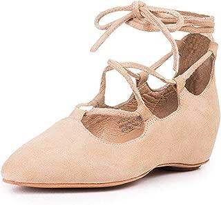 Jeffery Campbell Atsuko Nude Suede Flat Wrap Tie Up Shoes