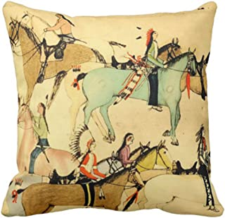 Emvency Throw Pillow Cover Antique Native American Indians Western Vintage Decorative Pillow Case Home Decor Square 20 x 20 Inch Pillowcase