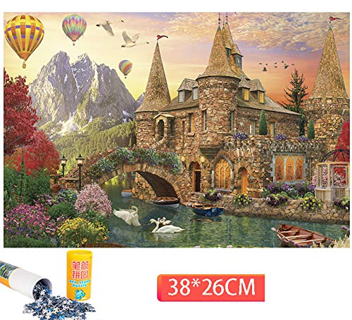 Mini-pennenhouder Landschapspuzzel 1000 stukjes Puzzel voor volwassenen Houten Cartoonpuzzels voor kinderen Educatief speelgoed Geschenken Houten speelgoed,E