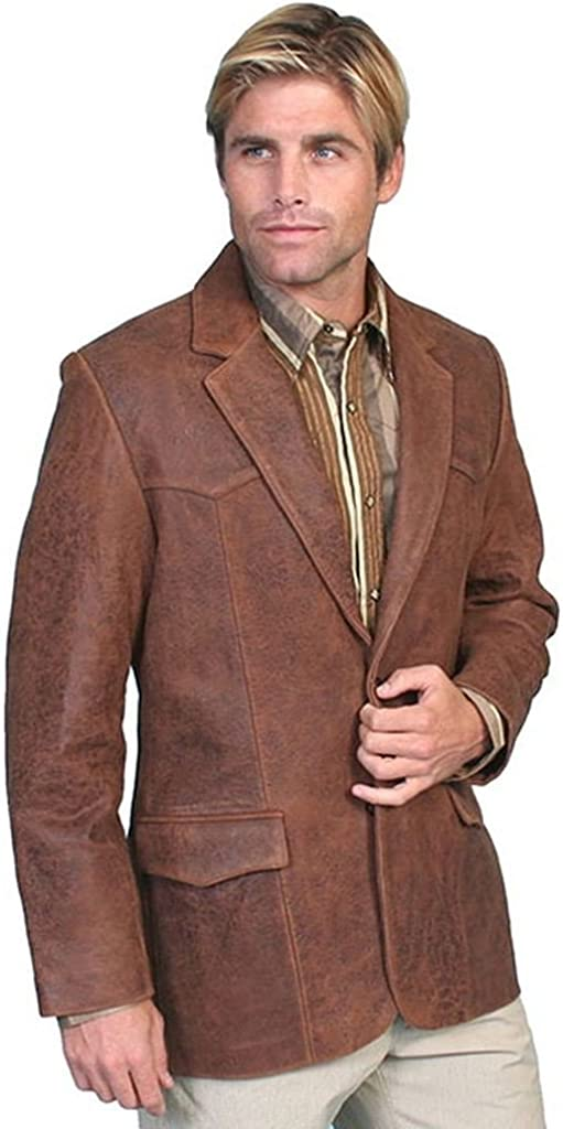 Scully Men's Lamb Leather Blazer Big And Tall Brown 52 LNG