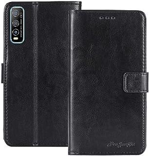 TienJueShi ブラック ビジネス レトロ 耐汚れ スタンド 財布 TPU Silicone シリコーン レザー 合皮 Case Cover vivo Y70s 6.53 inch カード収納 カバー ケース ポーチ 手帳型