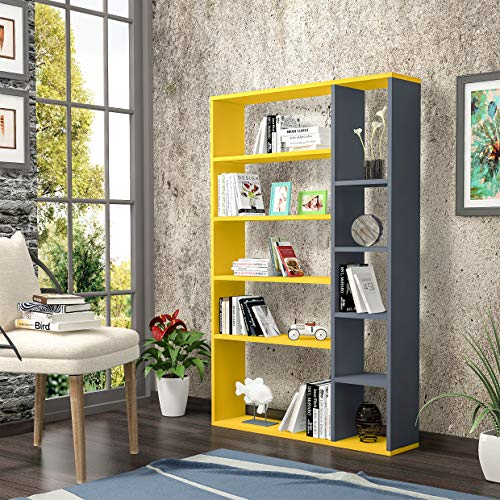 Homemania Libreria Nova, Legno, Giallo-Antracite, 98,6x22x150 cm